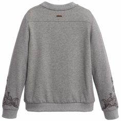 Boys pale grey-marl cotton jersey sweatshirt by Roberto Cavalli. It has an elaborate, embroidered logo on the front in brown and metallic copper thread with the designer's logo charm attached on the back. It is lightweight with a soft, fleecy lining. <br /> <ul> <li>94% cotton (soft jersey)</li> <li>6% elastan</li> <li>Machine wash (30*C)</li> <li>Made in Italy </li> </ul>