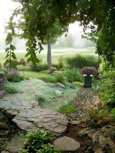 Wooly thyme like tumbling water. From Fine Gardening. Dream Garden, Home And Garden, Garden Modern, Garden Living, Wooly Thyme, Landscape Design, Garden Design, Fine Gardening, Exterior
