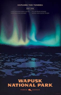 Wapusk National Park vintage-style illustrated travel poster featuring Canada's Northern Lights -- by Cameron Stevens