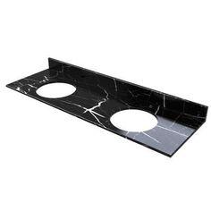 """D'Vontz 61"""" Double Bathroom Vanity Top Top Finish: Black Marquine Marble"""