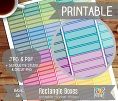 Rectangle Boxes Printable Planner Stickers Erin by ilove2print