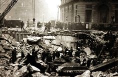 A scene of utter devastation after a bomb fell on a London subway near the Bank of England - 11 January 1941