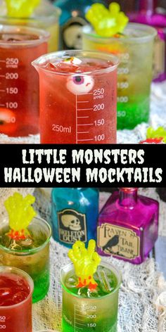 Do you want your Halloween party to set the bar and impress all the guests, then you want our recipes for Little Monster Halloween Mocktails. A sweet, layered, festive drink- these will appeal to all of your guests! Halloween Baking, Halloween Drinks, Halloween Desserts, Easy Halloween, Halloween Treats, Scream Halloween, Halloween Dinner, Halloween Recipe, Non Alcoholic Drinks