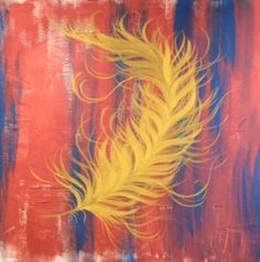 Gold feather. acrylic painting