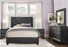 picture of Sofia Vergara Paris Black 5 Pc King Upholstered Bedroom from King Bedroom Sets Furniture