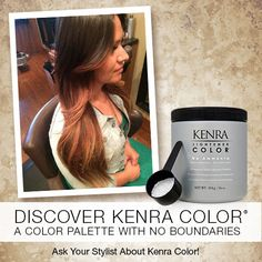 Lighten up with our NEW Kenra Color® No Ammonia Lightener!  -Fragrance-free white powder formulated without ammonia -Powerful lifting strength – up to 7 levels in a single application  Work by Lianne Deaderick from Onyx Salon and Spa using No Ammonia Lightener.