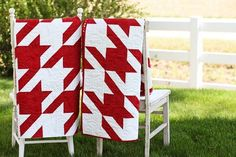 super easy - alternate a diagonal stripe block with a solid block