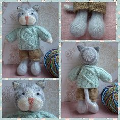 Knitted Cat Boy Toy Hand Knit Cat Cute Cat Doll For Boys Present Christmas Soft Toy Cat Stuffed Animal Cat in Suit Little Cotton Rabbit This is a listing for CUSTOM MADE Soft Cat Toy. Based on a Little Cotton Rabbits Design by Julie Williams. Suitable for playing or home decor. Can
