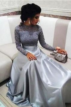 Prom Dress Ball Gown, Modest Silver Lace Evening Dresses with Long Sleeves Vinta. - Prom Dress Ball Gown, Modest Silver Lace Evening Dresses with Long Sleeves Vintage High Neck Prom D - Dresses Elegant, Lace Evening Dresses, Ball Dresses, Ball Gowns, Pretty Dresses, Beautiful Dresses, Plus Size Prom Dresses, Modest Dresses, Casual Dresses