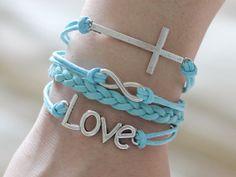 118 Fashion girl bracelet Cross Infinity Love charm Multiple layer Baby blue bracelet Beautiful women accessory Great gift Adjustable length...