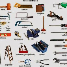 Tools and Equipment Vocabulary: Items Illustrated - ESLBuzz Learning English English Tips, English Words, English Lessons, Learn English, English Language, English Articles, English Grammar, Essential Woodworking Tools, Best Woodworking Tools