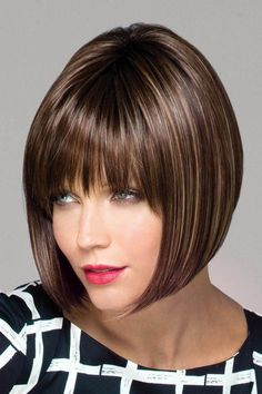 Sharp, asymmetrical angled bob cut wig with super cool vibe character & blunt bangs. Synthetic wig with wefted cap. Asymmetrical Bob Haircuts, Angled Bob Hairstyles, Hairstyles With Bangs, Pixie Haircuts, Medium Hairstyles, Braided Hairstyles, Wedding Hairstyles, Line Bob Haircut, Bob Haircut With Bangs