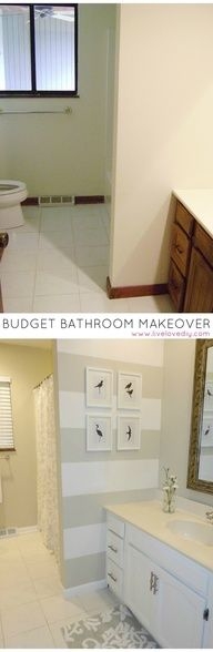 Budget bathroom renovation for under $200! Tons of ideas for how to update old bathrooms..