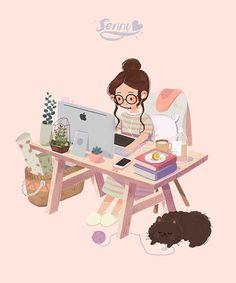 Character Illustration, Illustration Art, Animal Illustrations, Flat Design Illustration, Illustrations Posters, Cartoon Kunst, Cartoon Art Styles, Cute Cartoon Wallpapers, Anime Art Girl