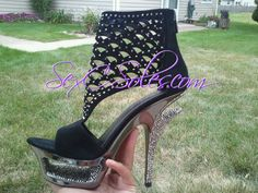 Black Cut Heel Deluxe Rhinestone Cutout Platform Shoe $189.99 use code kaycj10 for 10% off
