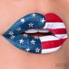nice Fourth of July Make Up Lip Art, Lipstick Art, Lipsticks, Dark Lipstick, Crazy Lipstick, Lipstick Colors, Make Up Designs, Lip Designs, Makeup Art