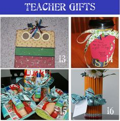For end of school year teach appreciation gift give a beach towel topped with a magazine and a bottle of sunscreen - tie with ribbon (#15 in picture)