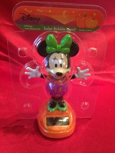 disney minnie mouse halloween solar bobble head mickey mouse 977355 nib