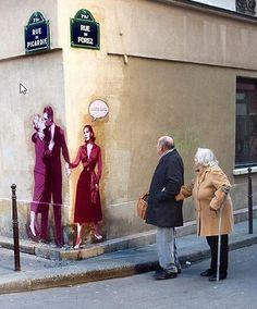 "Street art is your friend. Street Artist: Levalet Street art Paris William Blake, ""The Marriage of Heaven and Hell"" 3d Street Art, Urban Street Art, Amazing Street Art, Street Art Graffiti, Urban Art, Amazing Art, Urban Graffiti, Awesome, Urbane Kunst"