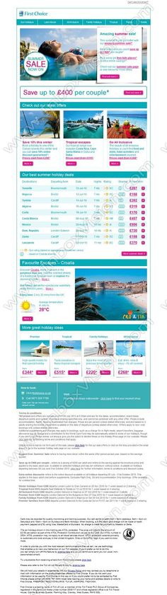 Company:   First Choice Holidays    Subject:   Amazing summer sale - save up to GBP400             INBOXVISION is a global database and email gallery of 1.5 million B2C and B2B promotional emails and newsletter templates, providing email design ideas and email marketing intelligence www.inboxvision.com/blog  #EmailMarketing #DigitalMarketing #EmailDesign #EmailTemplate #InboxVision  #SocialMedia #EmailNewsletters