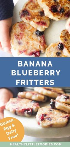 These banana blueberry fritters are made with just three ingredients and are ready in just 15 minutes! Dairy free, gluten free, egg free and sugar free, they're a perfect first finger food for baby led weaning, a quick and easy toddler snack recipe, or even a healthy dessert option! The entire family will enjoy this sweet fritter recipe. #fritters #babyledweaning #fingerfoods #healthysnack #healthydessert Easy Toddler Snacks, Healthy Snacks For Kids, Quick And Easy Snacks, Healthy Toddler Food, Snacks For Diabetics, Food For Kids, Healthy Toddler Breakfast, Nutritious Snacks, Healthy Appetizers