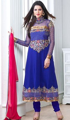 Now easily blend into the cream of the society dressed in this blue embroidered georgette Anarkali suit. That you can see some interesting patterns completed with lace, patch and resham work. #RoyalBlueTransparentHighNeckDress