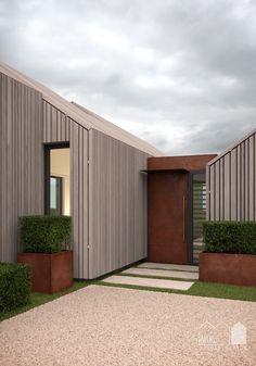 Annabelle Tugby Architects // Corten steel door on Cedar timber clad contemporary barn. Render by Matt Clayton.