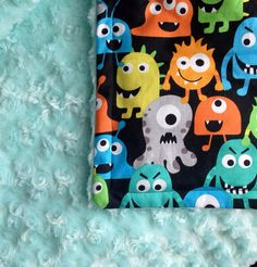 Little kid - Toddler minky blanket. Great for his Big boy bed Monster Baby Rooms, Monster Room, Monster Nursery, Puff Blanket, Toddler Blanket, Minky Blanket, Baby Boy Nursery Decor, Baby Boy Rooms, Baby Boy Nurseries
