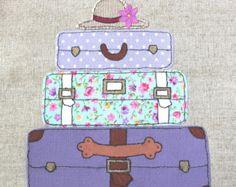 Framed Original Textile, Applique Artwork of Lilac Vintage Suitcases, machine embroidery