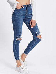 Pearl Beading Destroyed Raw Cut Hem Jeans Roztrhané Džíny 4590fa3701