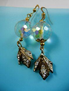 Blinding sparkling dangling long earrings   AB by RAKcreations