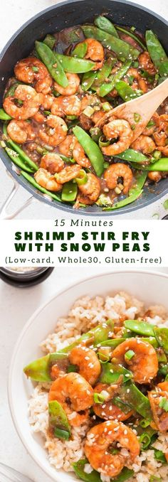 This Asian, healthy shrimp stir fry recipe with snow peas recipe takes 15 minutes to make. It's low-carb, gluten free, qualifies for Whole30 meal and vegan too. All reasons for you to enjoy it guilt-free! #shrimpstirfry #asianrecipe #stirfryrecipe #healthy #glutenfreerecipes #whole30recipes