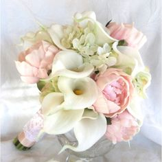 Real Touch Calla Lily and Peony Bridal Bouquet With Silk Hydrangea ($95) ❤ liked on Polyvore featuring home, home decor, floral decor, bouquets, decorations, silver, weddings, peony flower bouquet, silk calla lily bouquet and silk flower bouquets