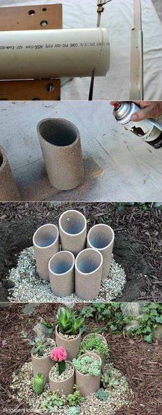 This succulent garden made from spray-painted PVC pipes that cut into different lengths is ideal for decorating your garden corner or front yard
