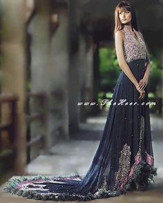 AK6482 Prussian Blue Crincle Chiffon Anarkali Style Anarkali Outfits In Bollywood, Anarkali Pishwas Bollywood, Anarkali Outfit With Train Anarkali