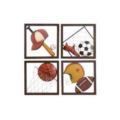 Cole & Grey 4 Piece Loft Aseball Décor Wall Plaque | AllModern