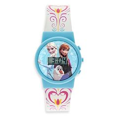 The perfect accessory for any young princess, this Disney Frozen Musical LCD Watch plays the hit song  Let it Go from Frozen. Featuring the faces of Elsa, Anna, and Olaf, this watch is a must have for a Frozen fanatic.