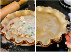 This double crust chicken pot pie is perfect when you're looking for comfort food and don't have all the time and energy in the world to whip it up! Double Crust Chicken Pot Pie Recipe, Pie Crust Dough, Homemade Pie Crusts, Sallys Baking Addiction, Crusted Chicken, No Calorie Snacks, Crust Recipe, Healthy Desserts, Chicken Recipes
