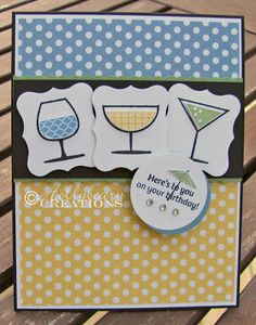 SU! Happy Hour stamp set; colors are Marina Mist, Daffodil Delight and Wild Wasabi - Holly Beary Creations