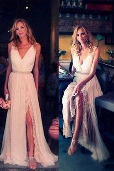 Ivory Chiffon Lace V-neck Simple Plus Size Beach Wedding Dresses W32