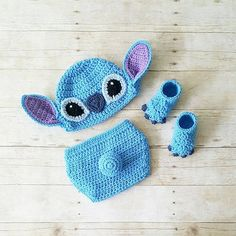 Crochet Stitch Hat Beanie Diaper Cover Shoes Lilo and Stitch Disney Costume Infant Newborn Baby Photography Prop Baby Shower Gift Baby Boy