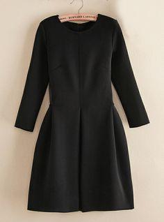 Black Long Sleeve Contrast Mesh Yoke Flare Dress 27.10--Sheinside