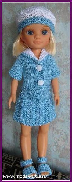 "Платье и костюм ""Морячка"" на куклу ""Нэнси"" - http://www.moda-kukla.ru/index.php?option=com_content&view=article&id=99:2013-04-08-13-05-57&catid=8:knitting1"
