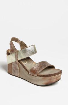 OTBT 'Bushnell' Slingback Wedge Sandal leather/textile gold, grey, black, bronze 3.75h sz7.5 124.95 2/16
