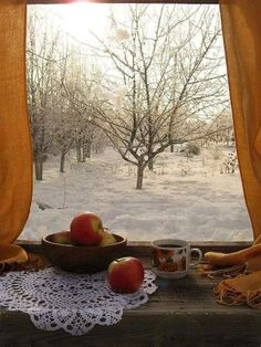 Snow in the Orchard & Apples on the Windowsill ....