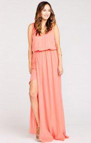 Kendall Maxi Dress ~ Bright Coral Crisp