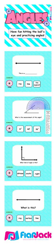 ($) Angles SMART BOARD Game - Have fun hitting the bull's eye and practicing angles with this self-checking Smart Board game! Students measure angles, define their different properties, and distinguish between acute, obtuse, and right angles. (Common Core Aligned: 4.MD.5, 4.MD.6, 4.G.1)