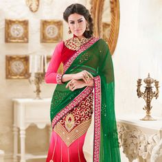 Green and Shaded Red Net and Satin Lehenga Style Saree with Blouse