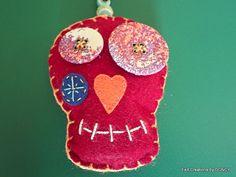 Claret red felt sugar skull decorations in handmade. Halloween Garland, Skull, Felt, Sugar, Wreaths, Christmas Ornaments, Holiday Decor, Unique Jewelry, Handmade Gifts