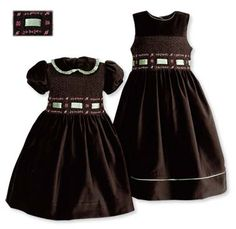 Timeless classics in rich brown cotton velvet with an olive hue. Hand-smocked bodices have hand-embroidered dark and light pink rosette design, with m